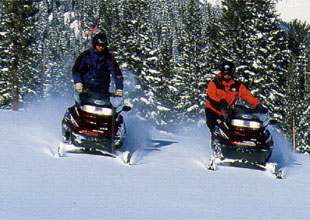 Minnesota snowmobilers at Blackwater Lodge near Walker Minnesota