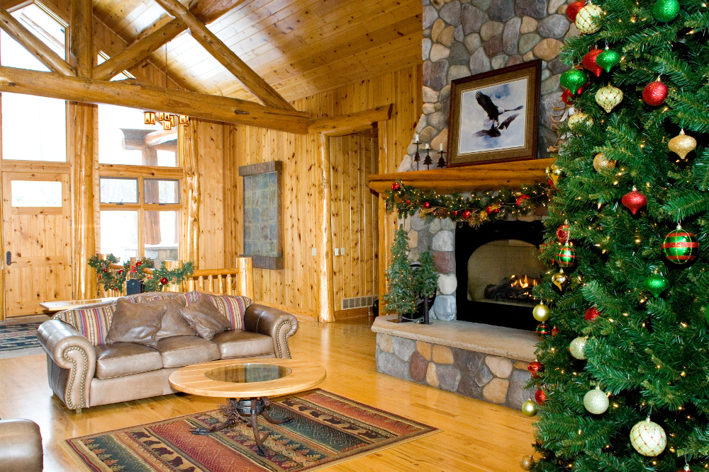 Fireplace with Christmas Tree